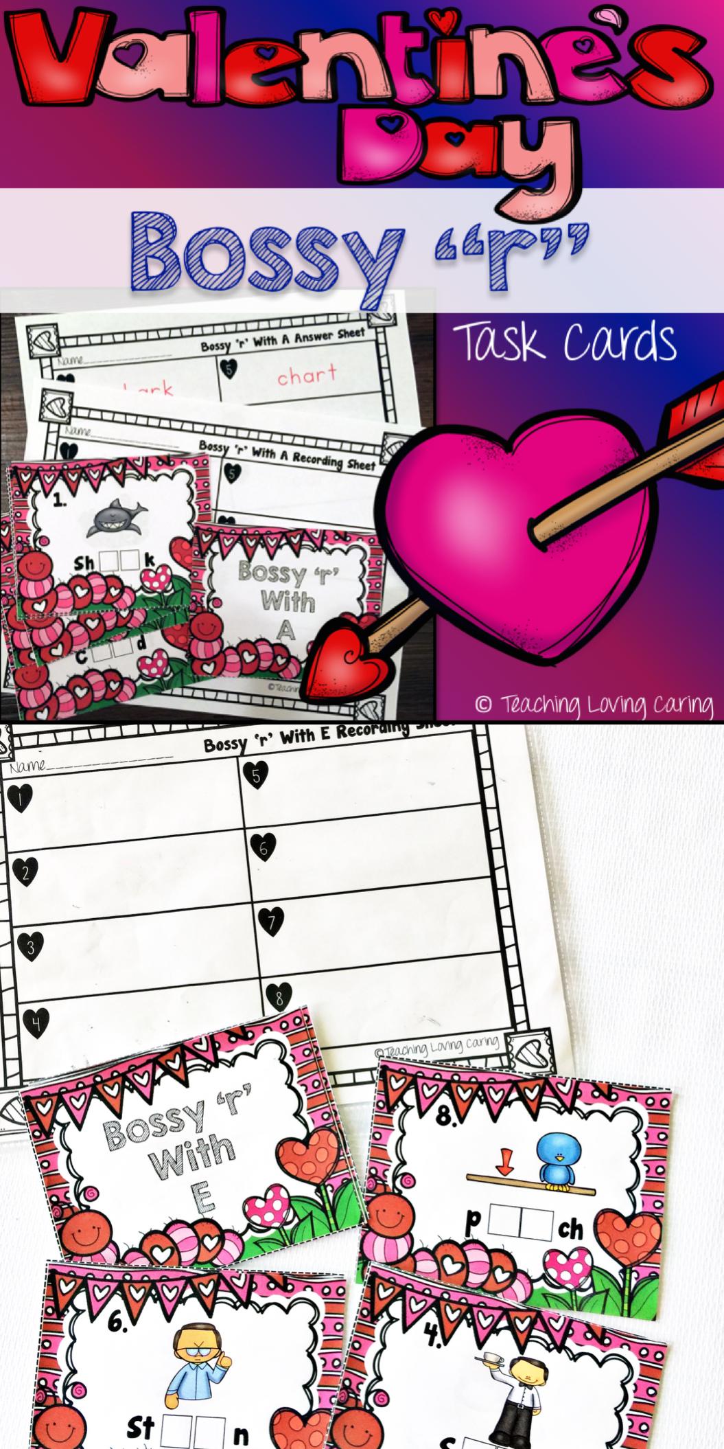 Valentineus day rcontrolled vowel task card literacy center best