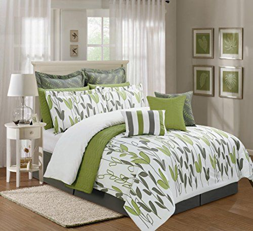 Green And Grey Bedroom: 12 Pieces Luxury Sage Green, Grey And White Vine Allen