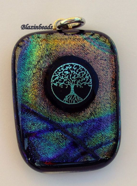 Tree of Life Dichroic Glass Pendant by blazinbeads on Etsy, $18.00