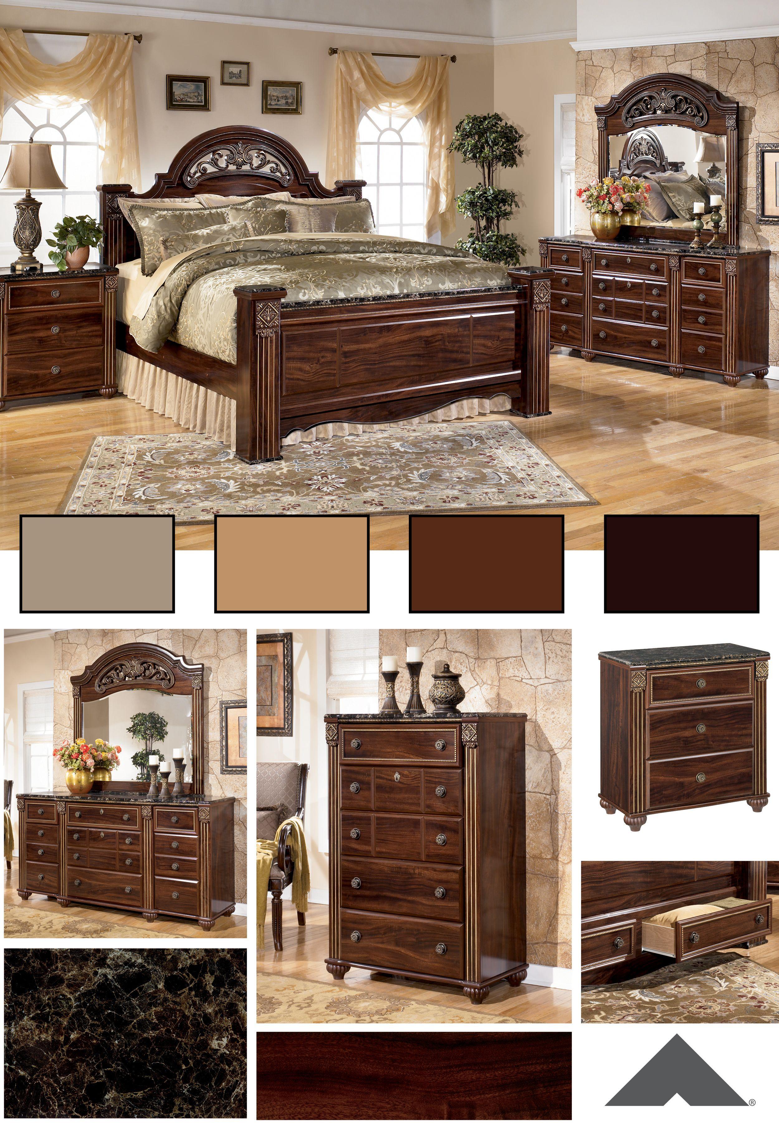 Gabriela Dark Reddish Brown Traditional Old West Master Bedroom