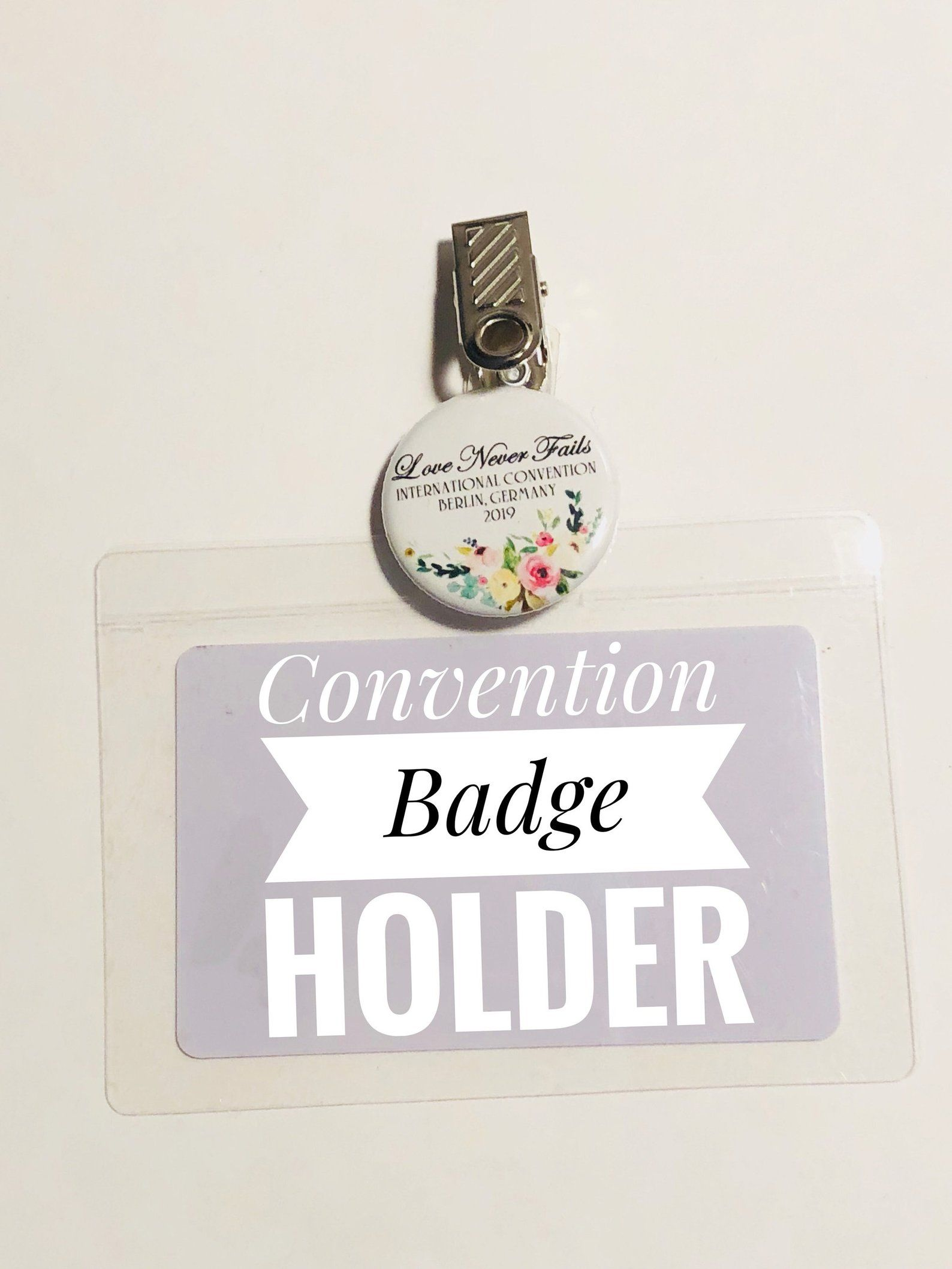 Self laminate International convention badge holder pin/JW