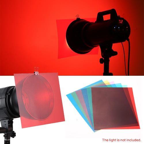 6pcs 25 20cm Transparent Lighting Color Correction Gel Sheets Filter Set For Flash Light Speedlite Color Correction Filters Softbox