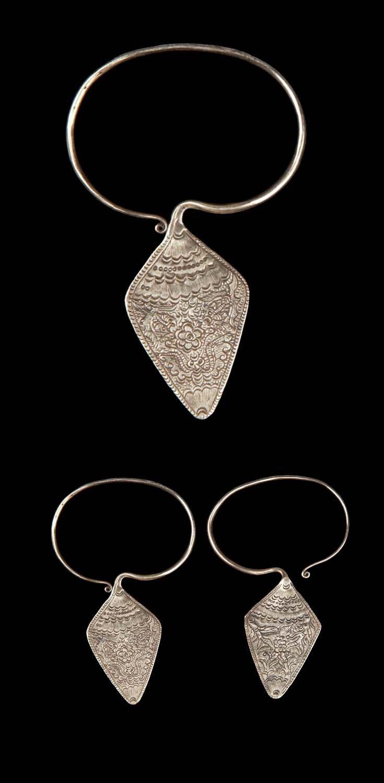 China - Guizhou, Liping, Jinping | Pair of earrings from the Miao people; silver. // ©Quai Branly Museum.