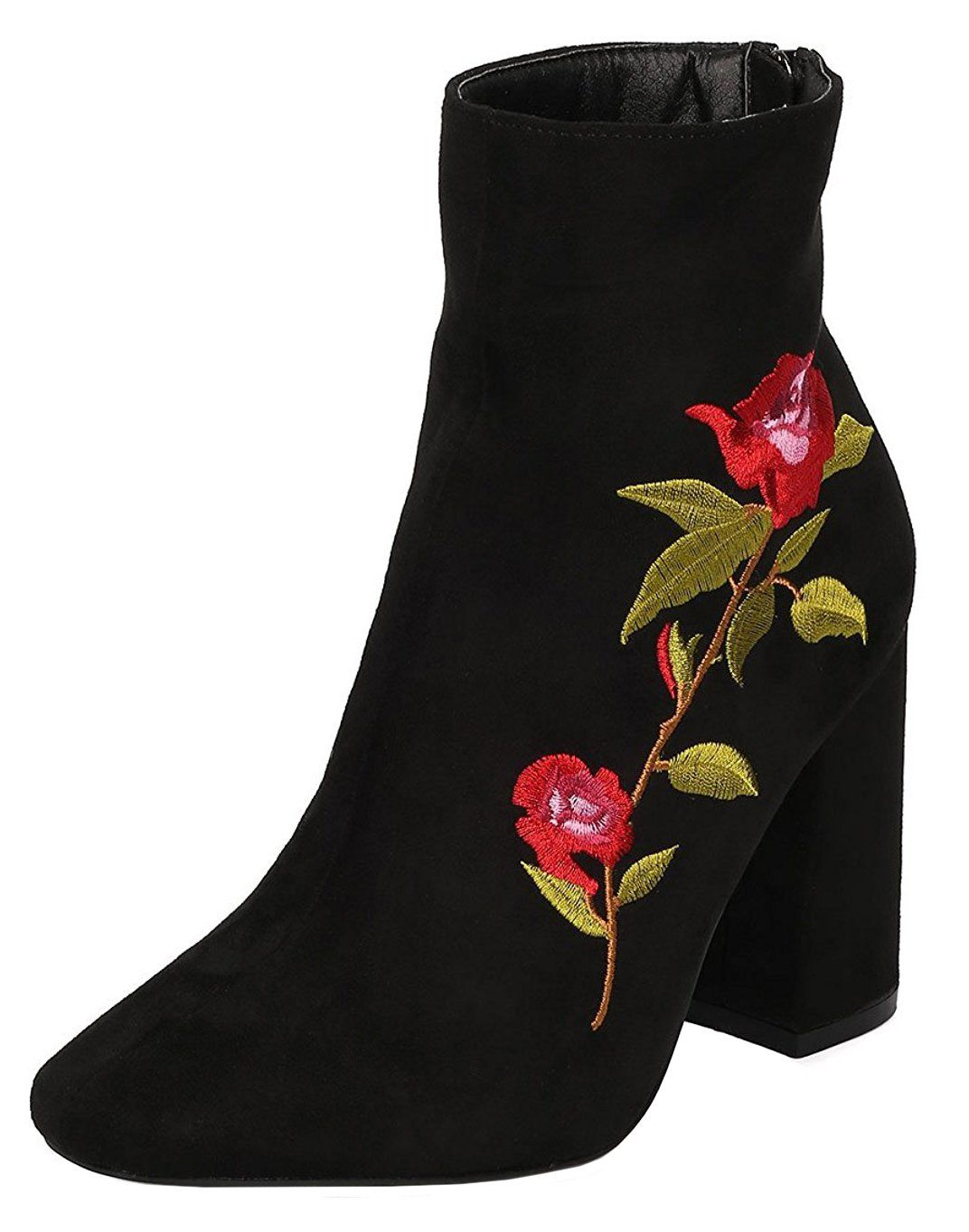 Women's Closed Toe Embroidered Chunky Stacked Heel Ankle Bootie