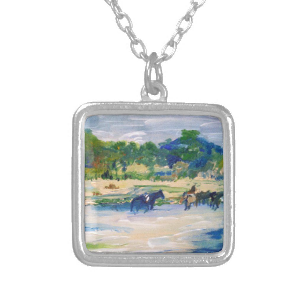 Chincoteague Island Horse Painting Silver Plated Necklace | Zazzle.com