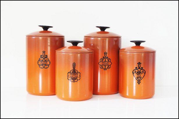 Kitchen Burnt Orange Canisters Ideas