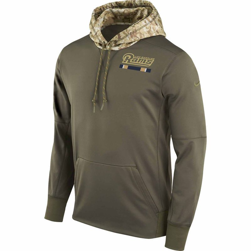Men s Nike Olive Los Angeles Rams Salute to Service Sideline Therma  Pullover Hoodie ba1398b97