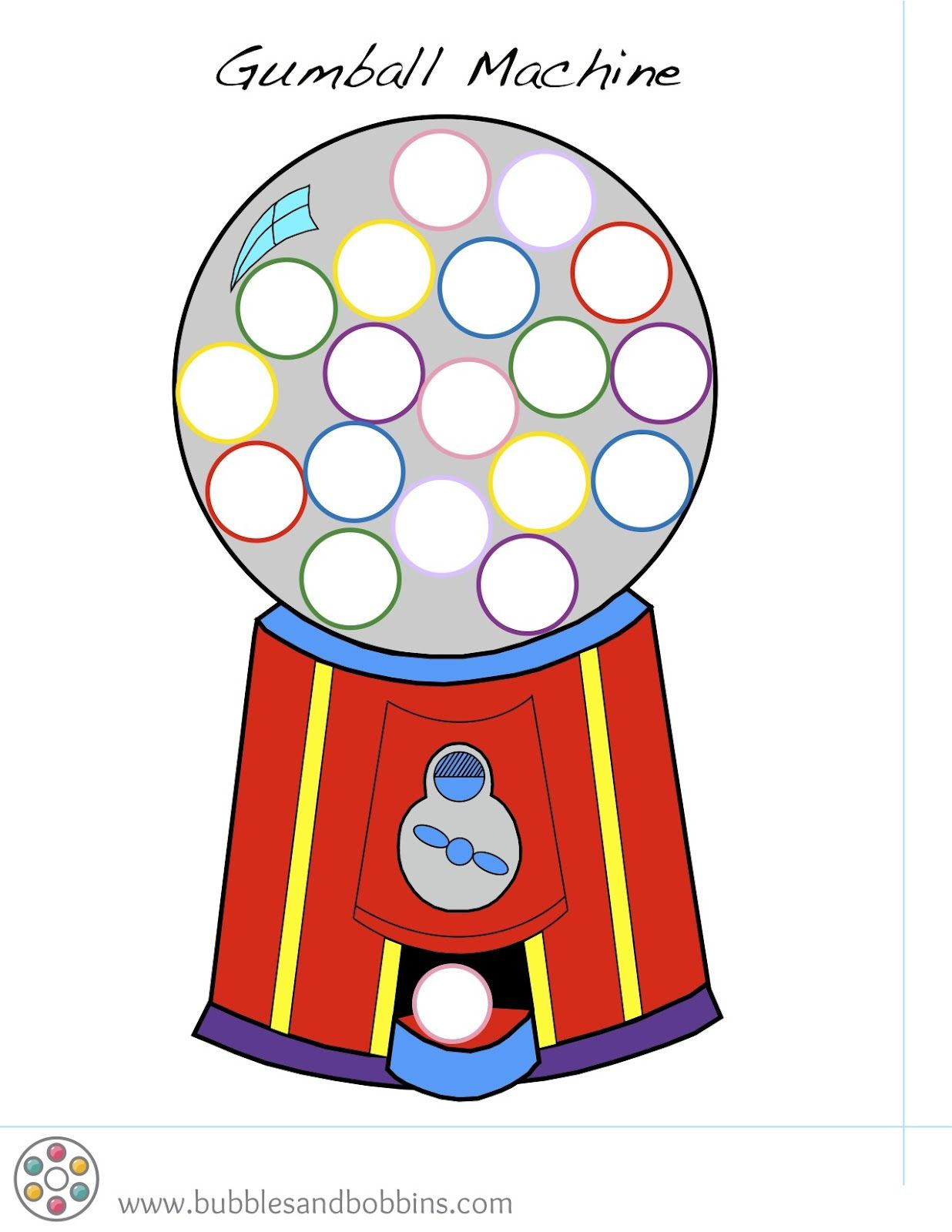 rainbow pom pom template | Printable Gumball Machine Template
