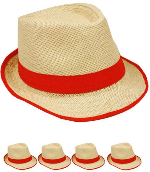 natural color bound edge red ribbon fedora hat Case of 72