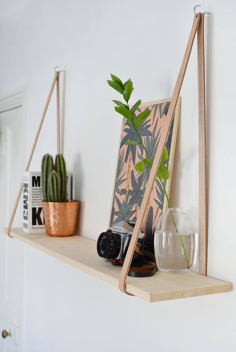 DIY easy leather strap shelf