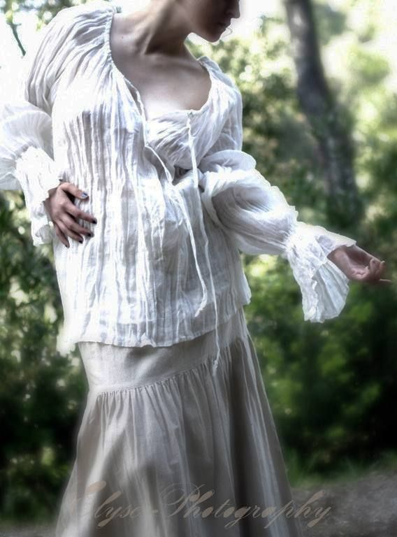 """Pic as inspiration: Lovely blouse, read her technique to sew, then wash fold and twist to dry to create this texture and pleating. """"Authentic SCA Romantic Sheer Linen Chemise I loved this fabric the moment I saw it. It made a perfect combination of texture and old world wrinkles for this chemise. My clients love it too. I sewed the piece first, and then washed it and twisted it to dry flat on a towel. The result was magical. Posted by Elizabeth"""""""