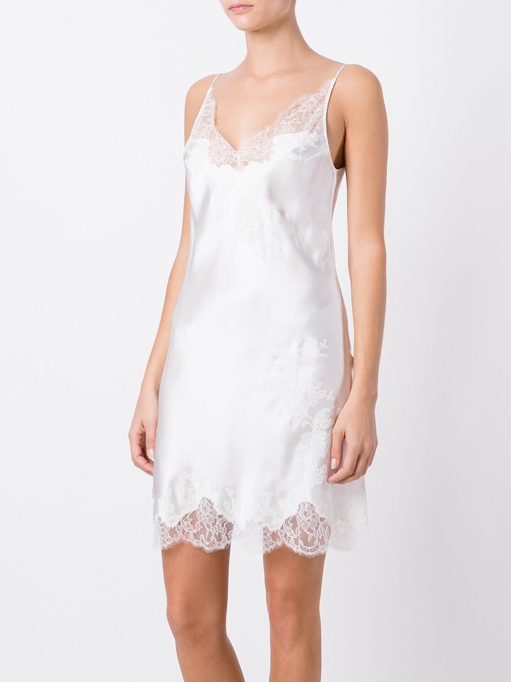Carine Gilson White Lace V Neck Slip Lace Slip Dress White Lace Slip Dress [ 1334 x 1000 Pixel ]