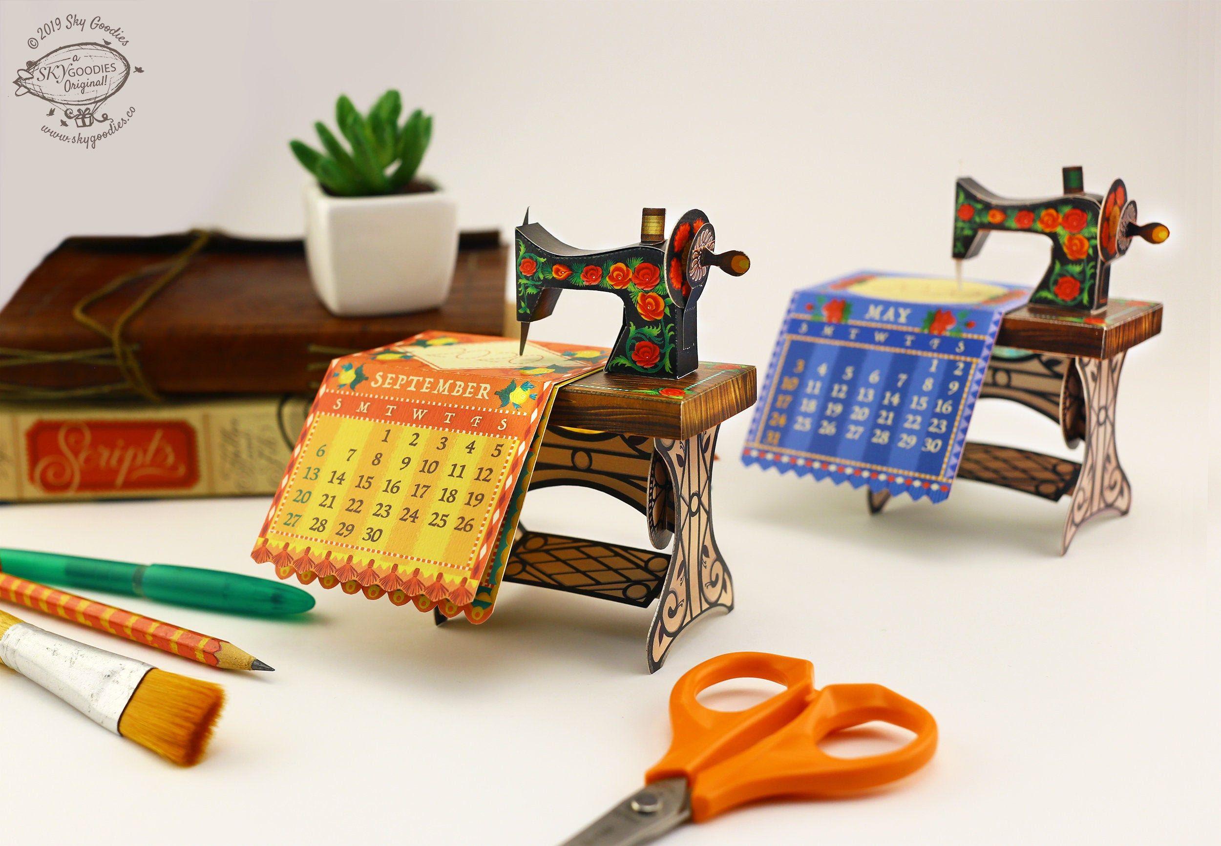 2021 Diy Sewing Machine Calendar Printable Paper Papercraft Etsy Paper Crafts Diy Diy Sewing Diy Desk Calendar