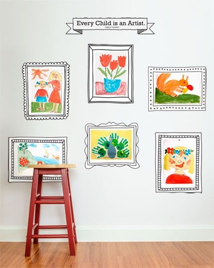 kids art display frames wall sticker peel and by simpleshapes - Kids Art Frame