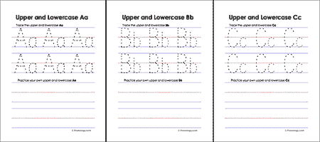 Upper and Lowercase Letters Worksheets ***dotted red line will not print