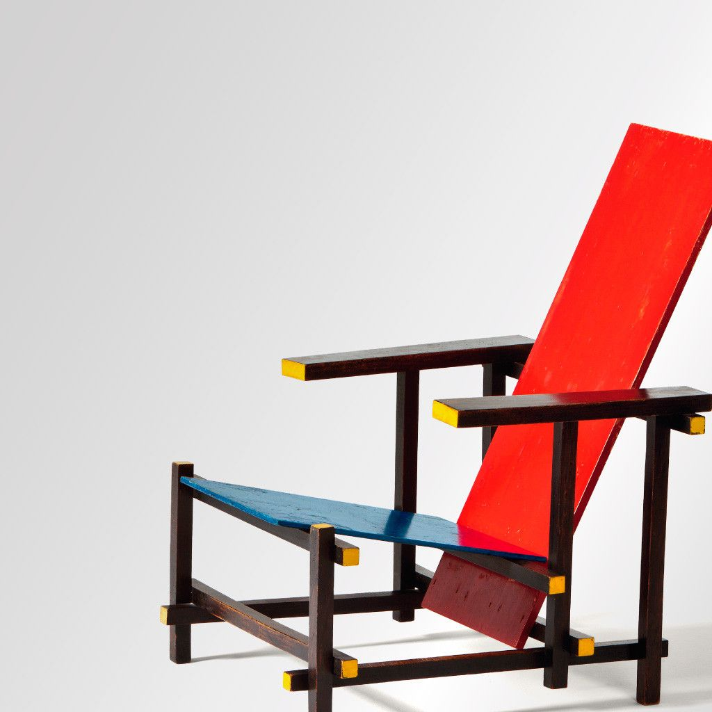 iconic furniture designers. Red And Blue Chair. Designed By Gerrit Rietveld In 1917. De Stijl Movement. Iconic Furniture Designers