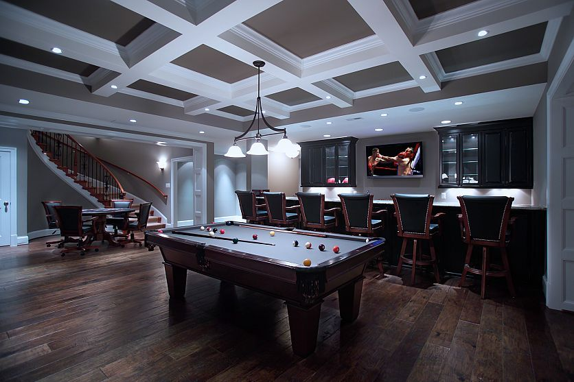 Basement game room renovation by @Rule4 Building Group #gamingrooms