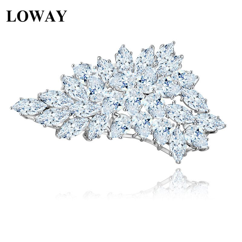 LOWAY Korean Designs Lovely Girl Charm Beautiful White Flower Cubic Zirconia Brooch For Women HJ8058(China (Mainland))