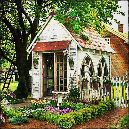 this is the perfect little antique garden shed complete with its very own knot garden - Garden Sheds Very