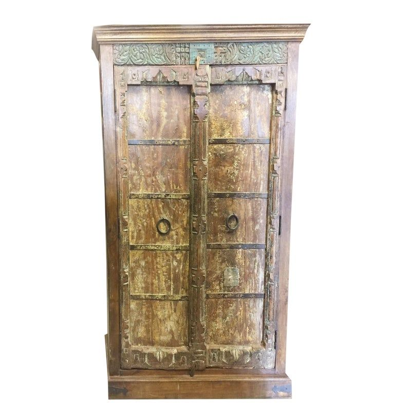 Antique Indian Old Doors Armoire Huge Almirah Cabinet Wardrobe