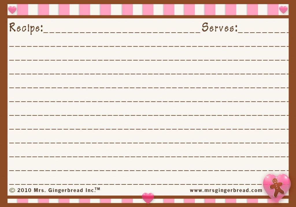 Crafts Gifts Gingerbread Christmas Printable Recipe Cards Recipe Cards Template Christmas Recipe Cards