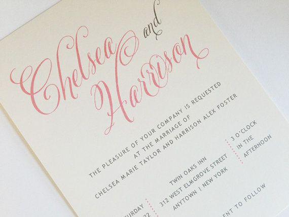 Blush Pink Wedding Invitation - Calligraphy Style Wedding Invitation - formal invitation style