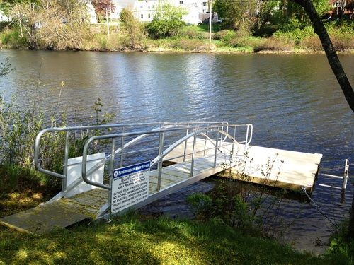 The kayak dock at Riverbank Park in Westbrook. We're located right at the top of the ramp.