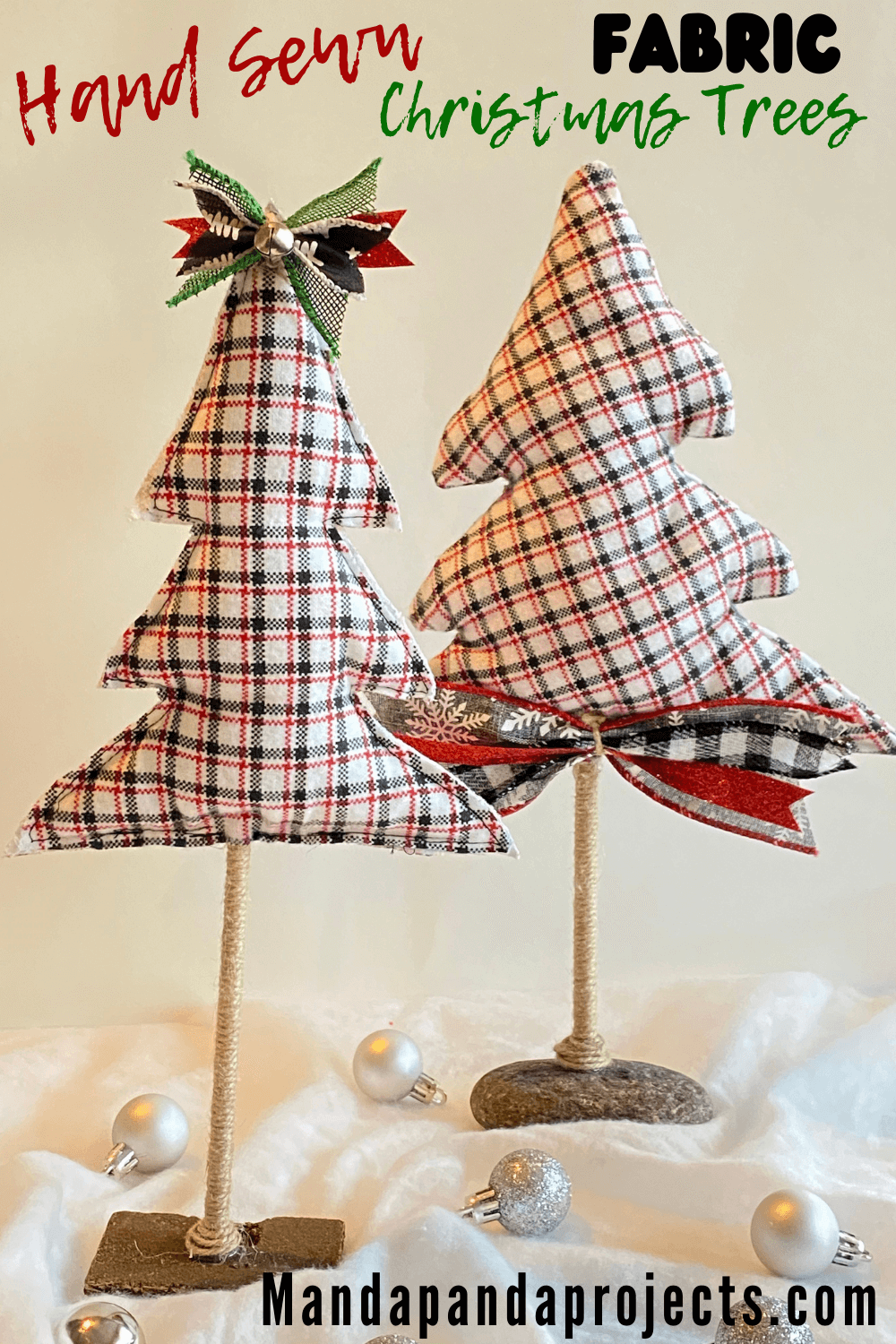Easy Hand Sewn Fabric Christmas Trees With Twine Trunk Fabric Christmas Trees Easter Tree Decorations Easter Tree Diy