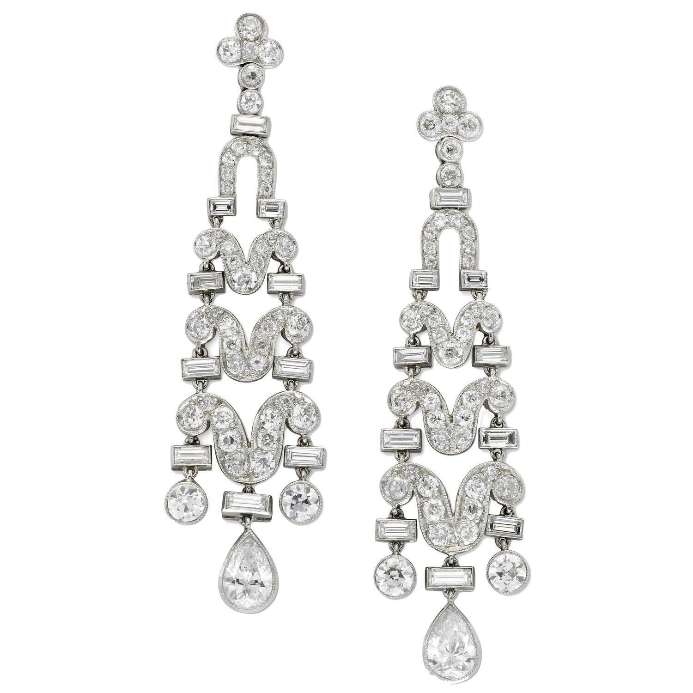 1920s Art Deco Diamond Earrings