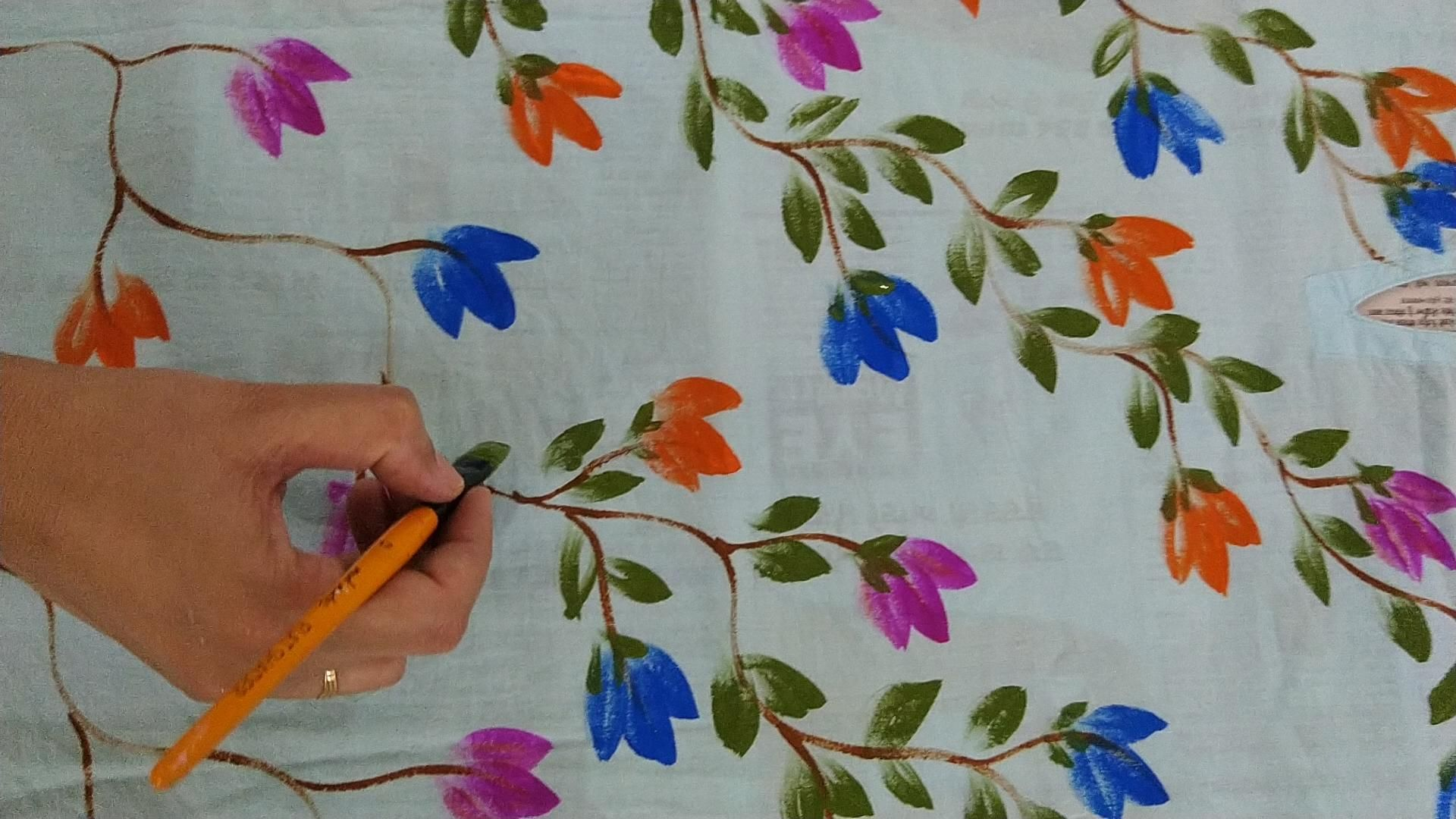 Free hand fabric painting