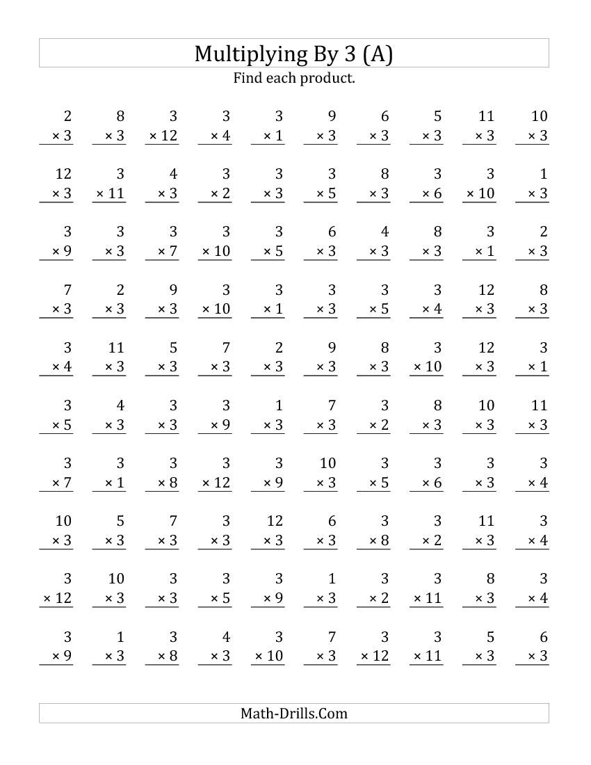 worksheet Multiplication Worksheets 100 Problems Timed Tests multiplying 1 to 12 by 3 all math pinterest drills all