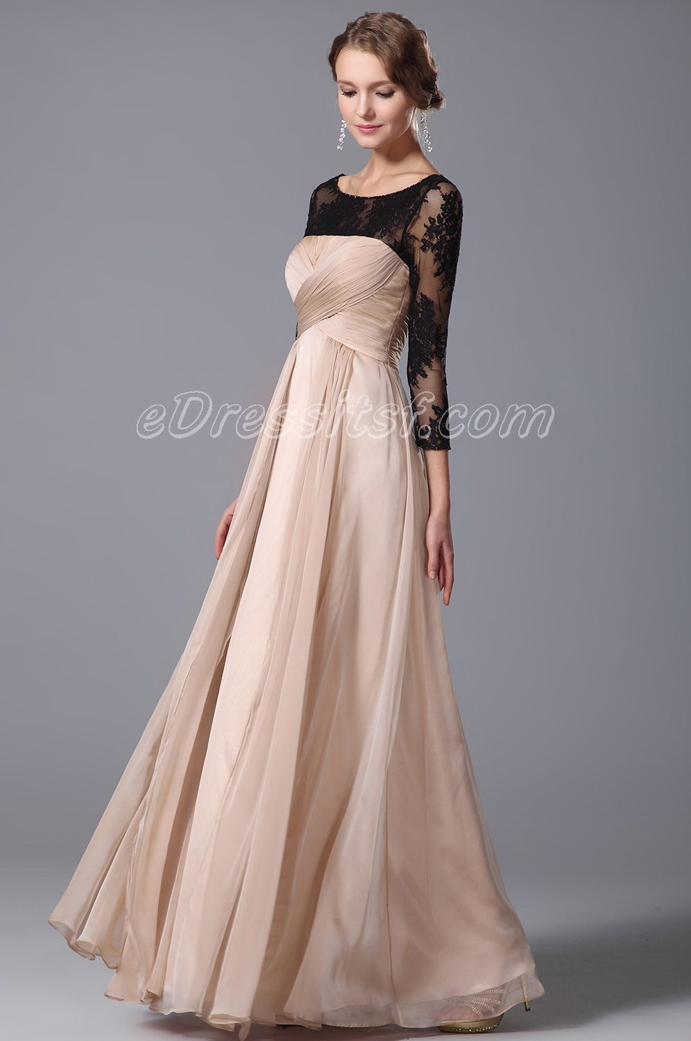 Elegant Empire Waist Evening Gown With Lace Sleeves | Formal dresses ...