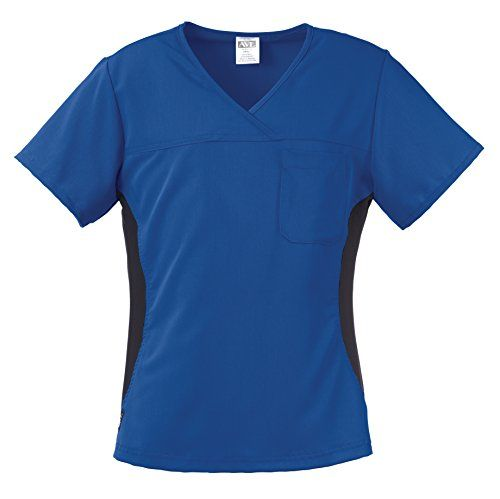 #tagsforlikes #likes The Michigan AVE. scrub top has curved side panels #made of stretchy yoga fabric to move with you on every bend, stretch, and reach you have...