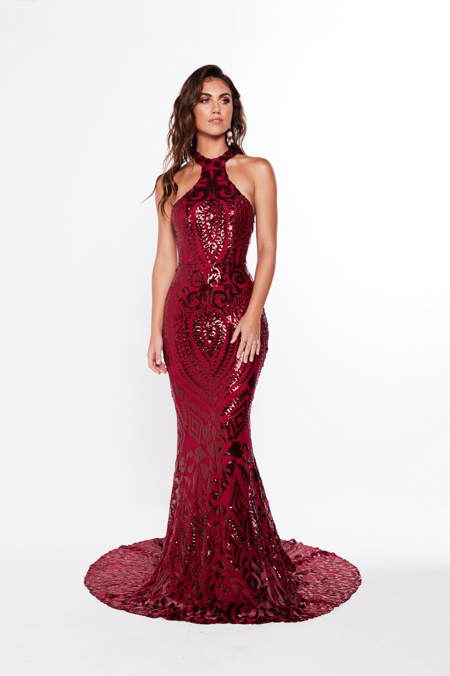 dd39ebded5 A N Luxe Fabiana Sequin Gown - Burgundy in 2019