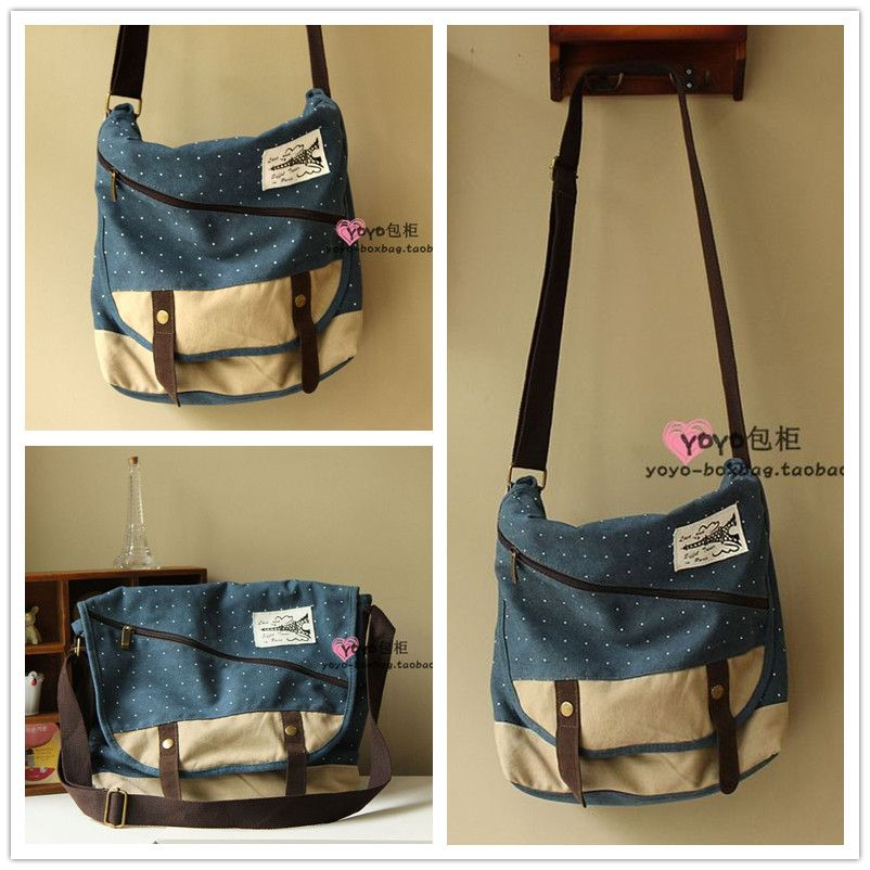 Polka Dot Canvas Bag Casual Messenger Preppy Style