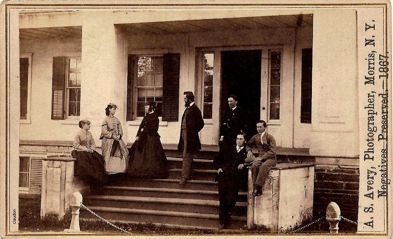 Family Portrait In Front Of House Cartes De Visite 1867 Photographer AS Avery Morris NY