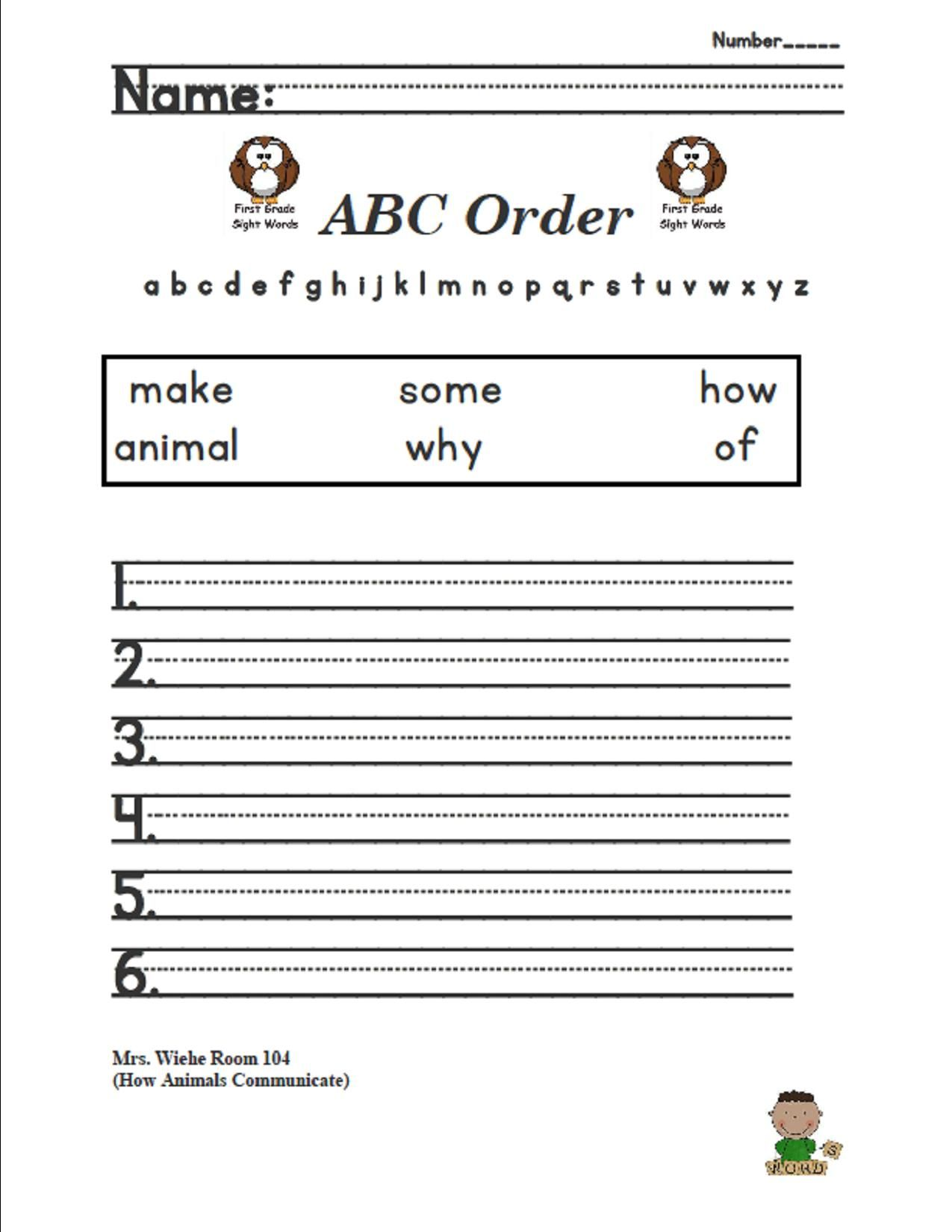 Lesson 7 How Animals Communicate Sight Words Abc Order