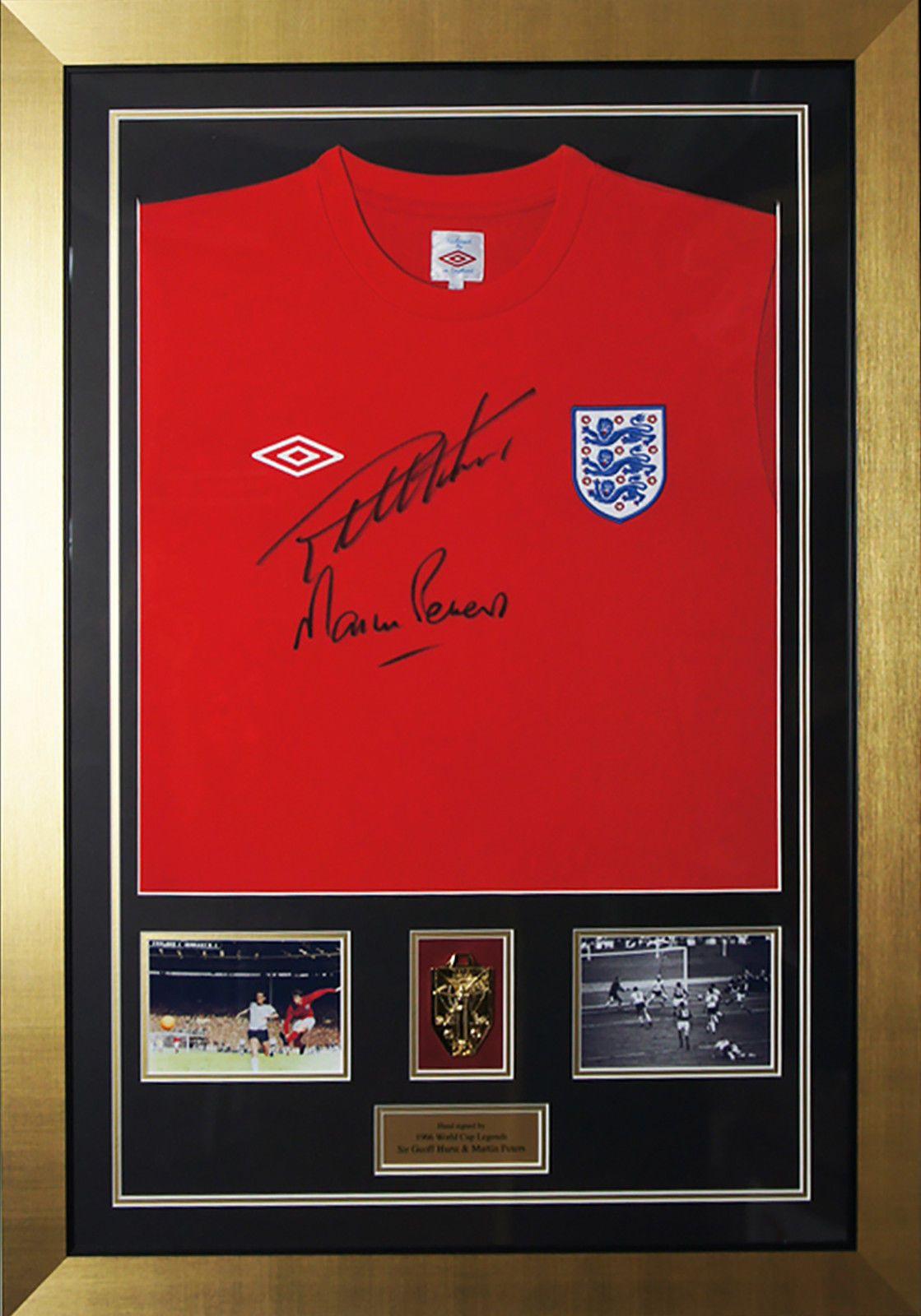 Geoff Hurst Signed England Replica Football Shirt In A Framed Presentation New