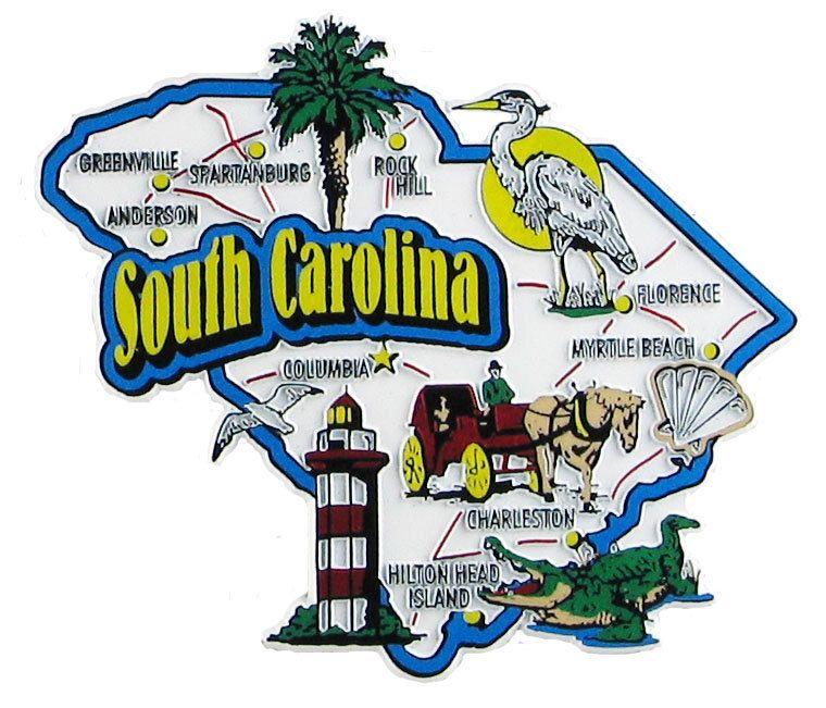 South Carolina Usa Souvenir Map State Magnet South Carolina