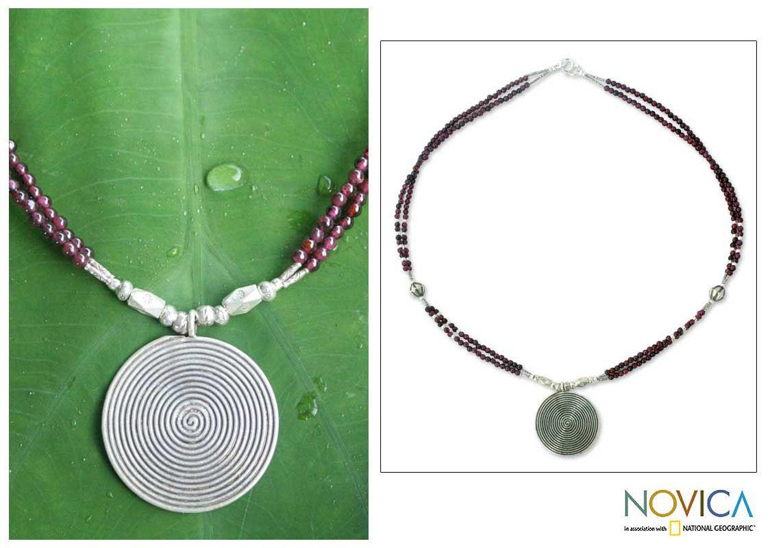 Hand Crafted Fine Silver and Garnet Pendant Necklace - Mind Journey | NOVICA