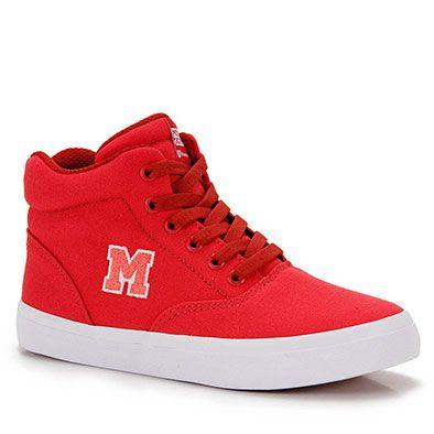 Tênis Skate Feminino Mary Jane Hi School - Vermelho  d7373339a75