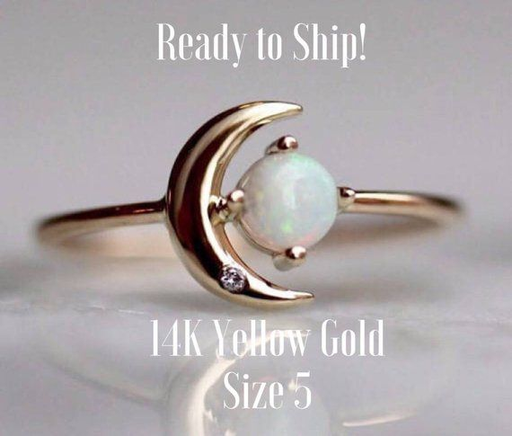 14k Gold Opal Diamond Ring Moon Of My Life Ring Astrology Ring