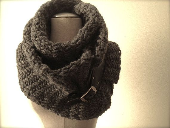 Charcoal gray chunky scarf with leather buckle by EandAHeritage, $210.00
