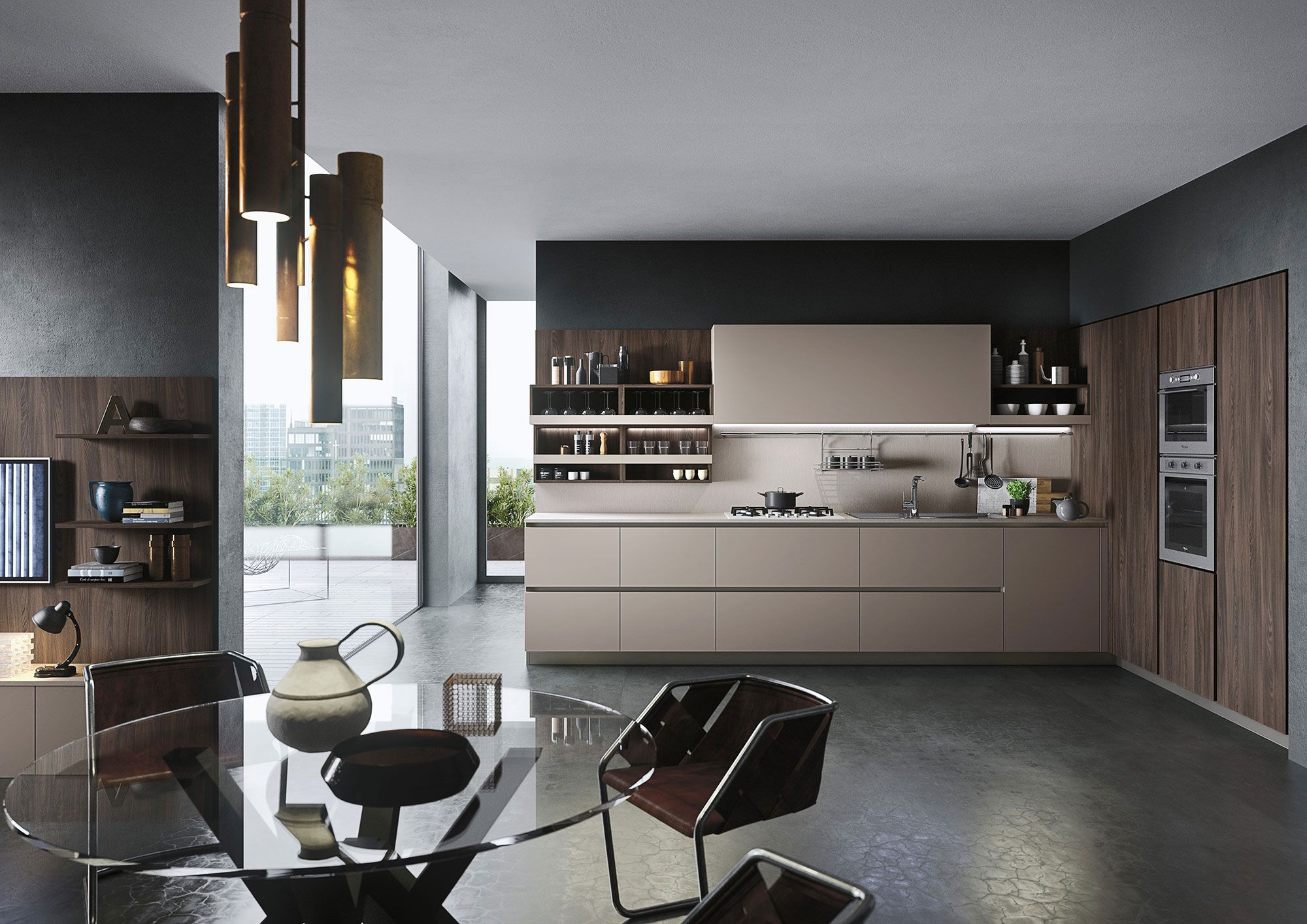 Kitchen First With Doors In Havana Oak Melamine And Soft Cappuccino Brown Melamin Contemporary Style Kitchen Kitchen Projects Design Industrial Kitchen Design