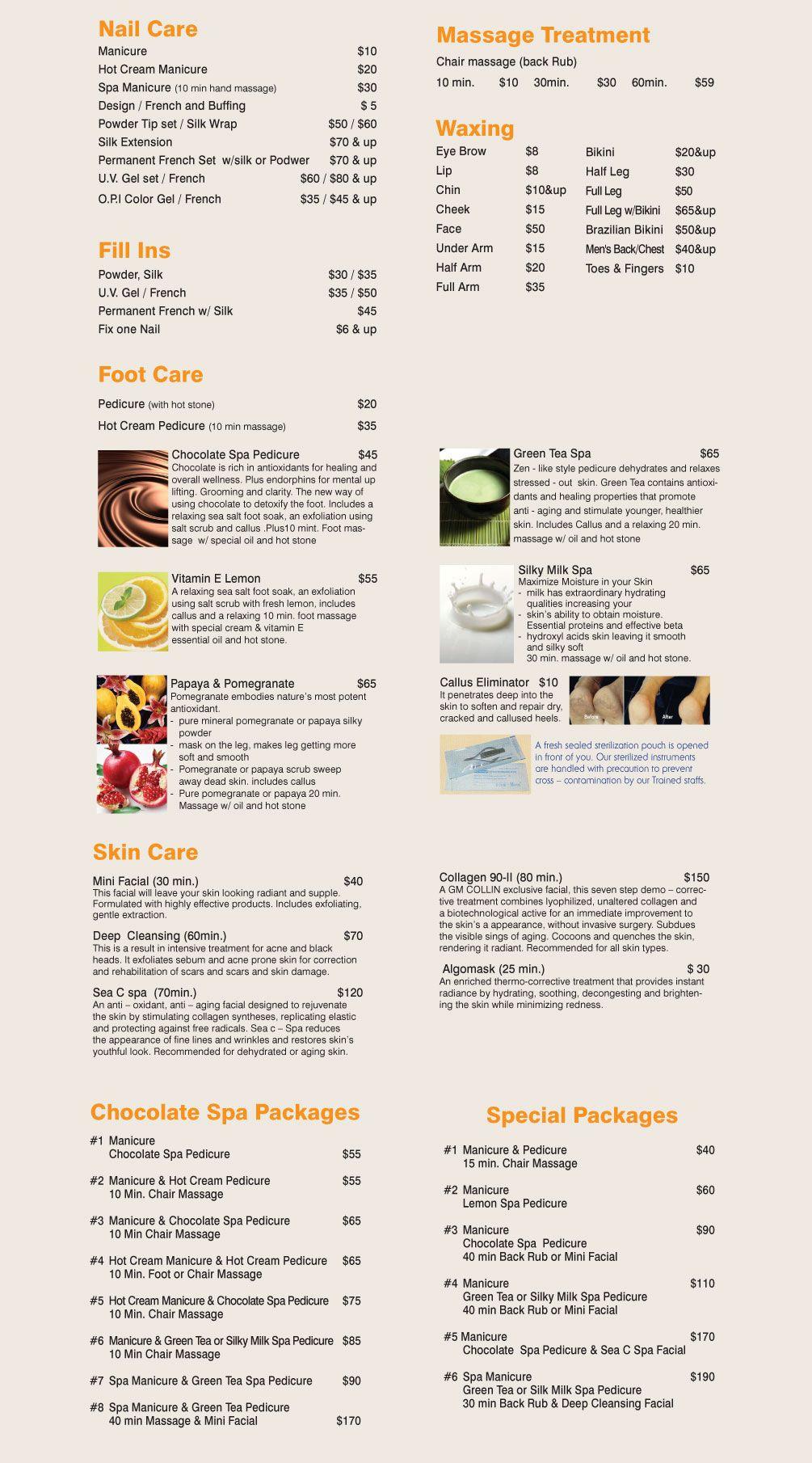 Menu of Chocolate Spa & Nails | Tel: 203.389.5551 | 59 Amity Road, New Haven, CT 06515