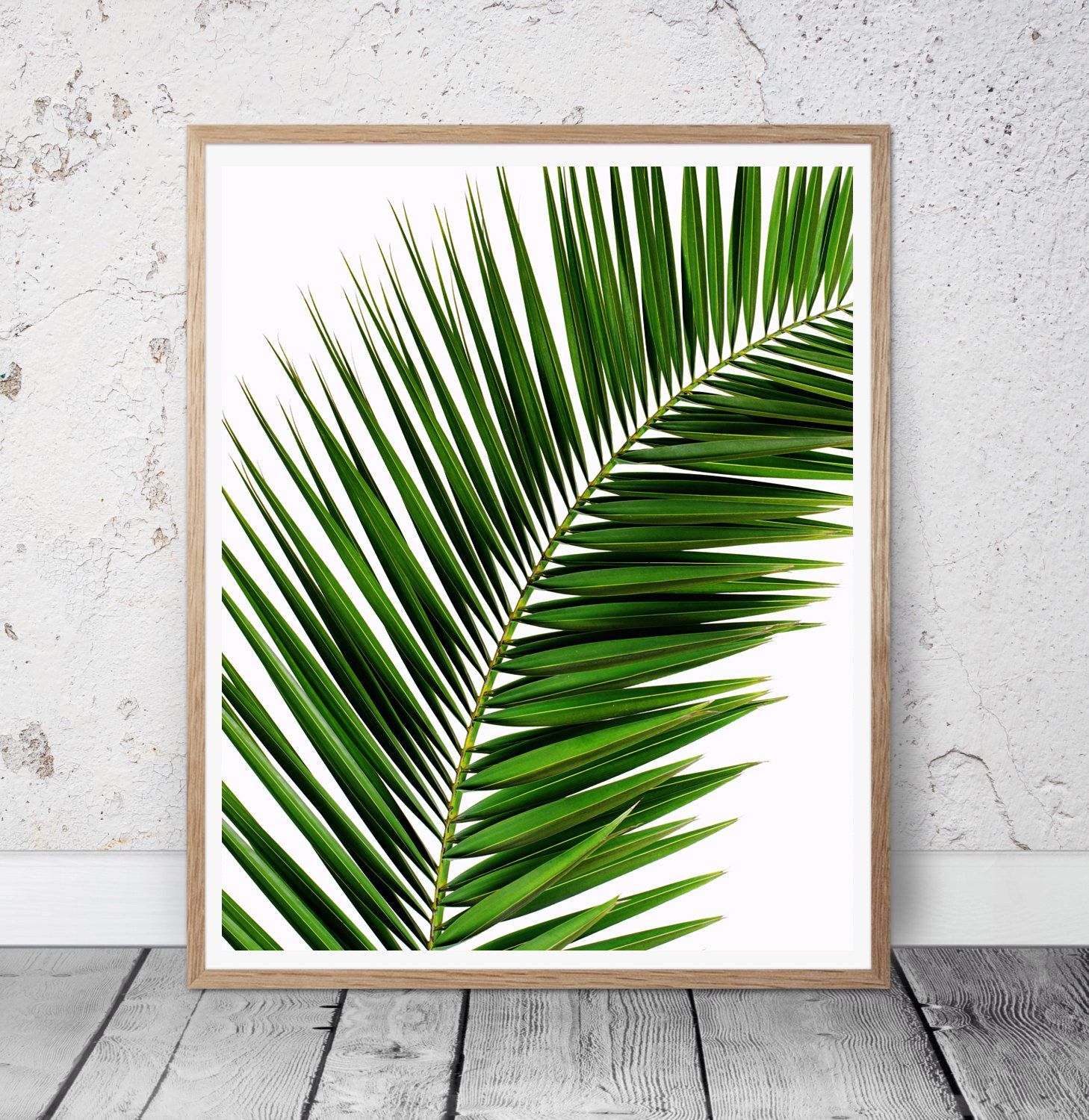 Tropical palm leaf wall art tree print palm photo for Minimal art wall