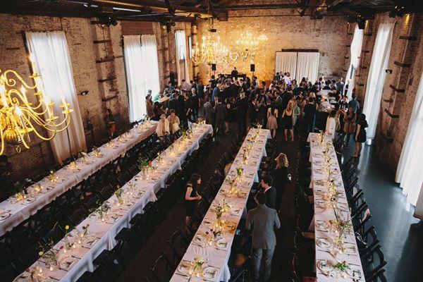 Stylish Green Building Wedding Ruffled Industrial Wedding Glittery Wedding Brooklyn Wedding