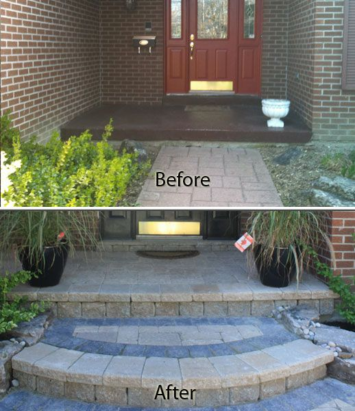 Porch Covering New Front Step And Front Walkway With Pavers