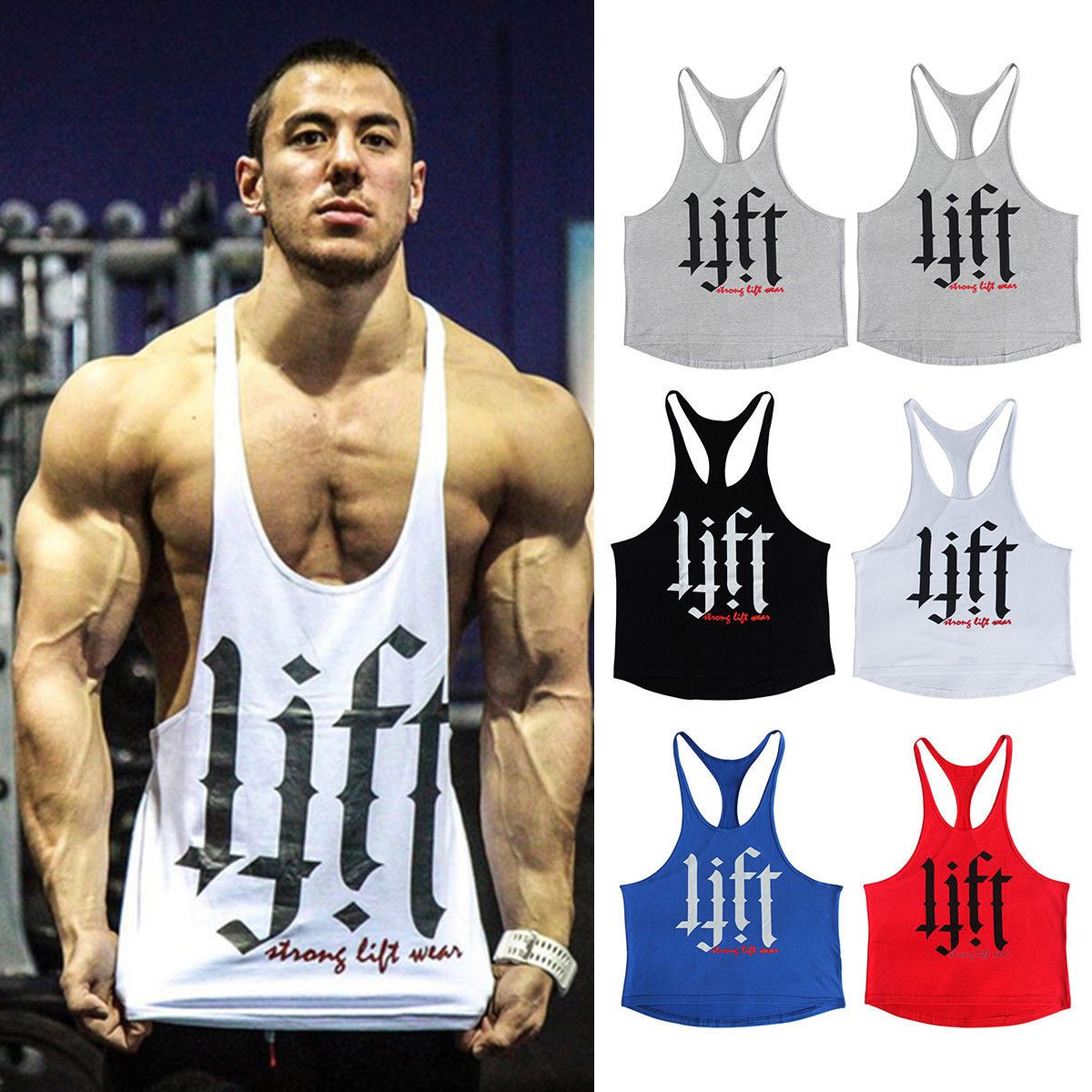 cff37576a39c02 Mens Lift Print Gym Muscle Shirt Tank Top Bodybuilding Sport Fitness Y-Back  Vest  ebay  Fashion