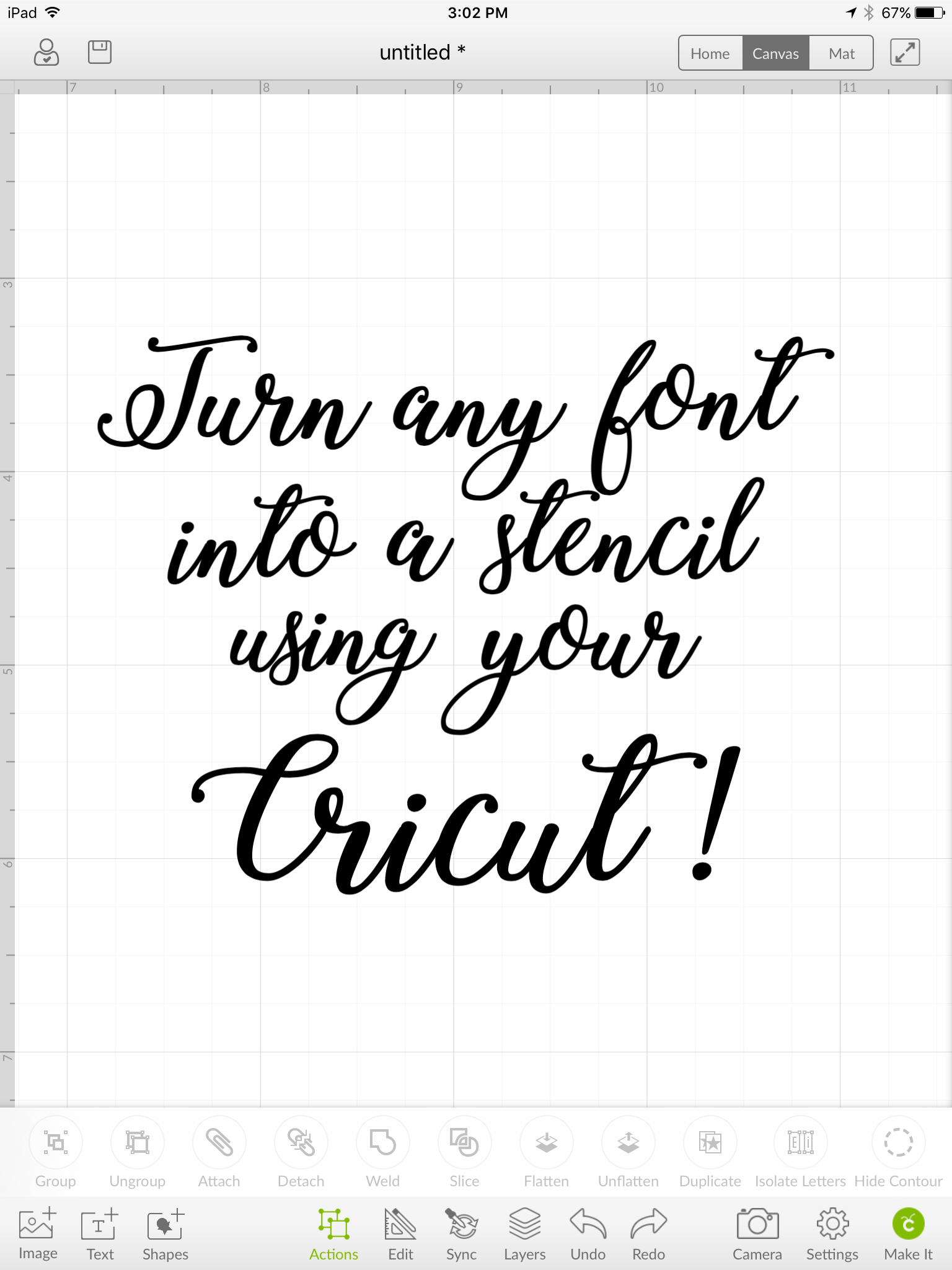 Creating a stencil from any font on cricut design space.
